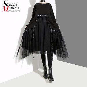2018 Estilo Coreano Mulheres Inverno Sólidos Preto Vestido Com Malha Costurado Manga Longa Feminino Casual Streetwear Vestido Midi vestido 4564