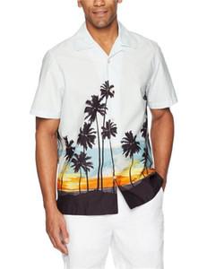 عارضة قمصان هاواي الرجال شاطئ شيرت بدوره إلى أسفل الياقة بأكمام قصيرة الرجال زهرة مطبوعة