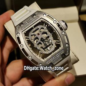 Nueva versión de alta RM52-01 RM052 diamante esqueleto del cráneo de esfera blanca de goma relojes deportivos de la correa de la caja del diamante Miyota reloj automático para hombre de acero