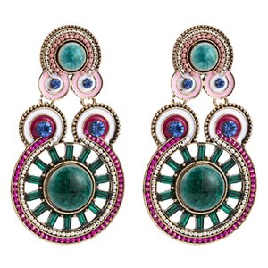 Glitter Rhinestone Alloy Dripping Oil Earrings Geometric Multi Circle Design Colorful Dangle Earrings Women Boho Jewelry Drop Shipping