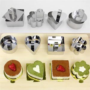 Backformen Mini-Mousse-Kuchen-Form Edelstahl-Quadrat-Runde Herzform Kuchen Mousse-Form-Mousse Ring Küchenwerkzeug DHL WX9-1819