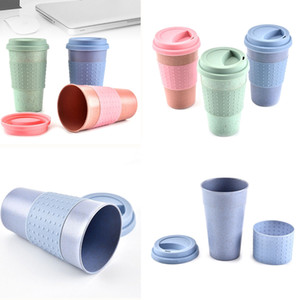 300ML Nature Wheat Straw Coffee Cup Travel Mug Prueba de fugas con tapa Caliente Color sólido Wheat Straw Mugs Cover Band Botella de agua