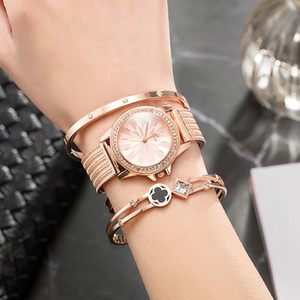 ZONMFEI  Wristwatch Women Fashion bracelet set popular stainless steel diamond quartz watches pink gold band with gift box