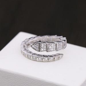 Avrupa ve Amerika Birleşik Devletleri sıcak yeni yılan şeklinde ayarlanabilir yüzük Kaplama 925 gümüş kakma kristal çift yüzük