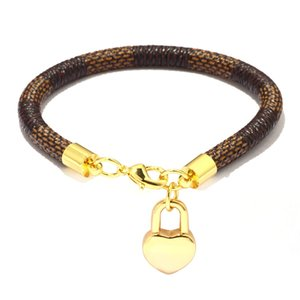 New Brand Leather Charm Bracelets for Women Plaid PU Real Gold Plated Handmade Heart Bag Pendant Lobster Clasp Bangle Fashion Jewelry Gift