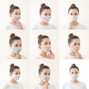 Frauen-Sommer-Gesichtsmaske aus Seidenchiffon dünner Dame Mask Handkerchief im Freien windundurchlässigen Helfen Face Staubdicht Sonnenschutz Masken MK56 gedruckt