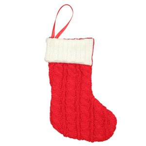 7inch Örme Noel çorap Şeker Hediye Tutucu Çanta Noel ağacı Şömine Süsler Mevsimsel Dekorasyon Asma