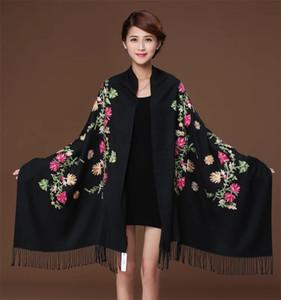 Nuevas flores bordadas bufanda de algodón de cachemira chales de viscosa soild llano bordar bufandas borlas musulmanes hijabs GP02