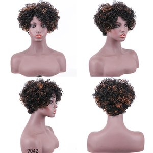 Colored 1B 27 Short Curly Wig Pixie Cut Brazilian Kinky Curly Human Hair Bob Wigs For Black Women Honey Blonde Ombre Top Machine Made Wig