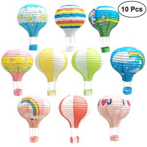 10 Pcs 12 Pouces En Papier Lanternes Décorations De Fête Suspendues Lanterne En Papier De Mariage Hot Air Balloon Forme Suspendues Lanterne Fournitures