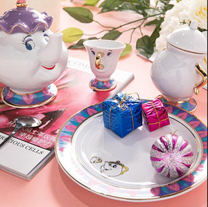 Mrs. Potts Porzellan vergoldet Teekanne Cartoon Geburtstagsgeschenk Teekanne Mini-Tee-Satz-Karikatur-Milch Tee trinken Set