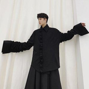 Men Japan Streetwear Casual Shirt Style Jacket Male Pleated Flare Sleeve Vintage Fashion Gothic Coat Outerwear Stage Clothes