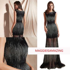 MAGGIEISAMAZING 도매 REAL PICTURE 보석 백 지퍼의 피복 드레스의 바닥 길이 이브닝 드레스 공식 드레스 CYH02019E002