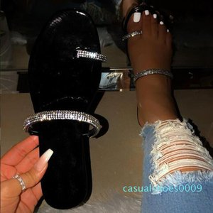 new rhinestone bright diamond slippers 2019 women's shoes diamond flat sandals outdoor beach shoes wild single finger flip flop c09
