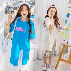 Girls' 2019 new summer wear short sleeve medium long T-shirt children's Korean version foreign style printing medium and large children's T-