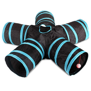 Cat Tunnel, 5-Way Foldable Pet Toy Tunnel - , Cat and Dog Game Pipe - Black blue