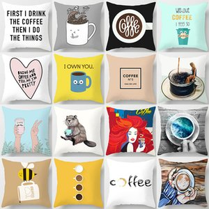 Decorative Throw Pillow Covers Coffee Letter Cushion Covers Classic 45x45cm Pillow Case Home Decor Sofa Living Room Cafe
