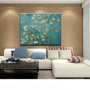 Modern Abstract Hand-Painted & HD Canvas Print Art Oil Painting Blossoming Almond,Wall Decor on High quality Thick canvas Multi Sizes l01