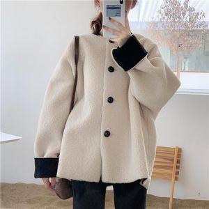 New Korean Fashion Baseball Jacket Coat Women Vintage Fall Winter Loose Faux Fur Warm Jackets Streetwear Coats