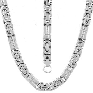 Cool Jewelry Set 6mm Mens Chain Boys Bracelet Silver Tone Flat Byzantine Link Stainless Steel Necklace Bracelet Set