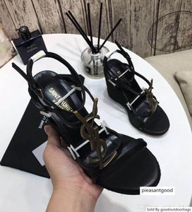 Women s Sandals Wedges CASSANDRA WEDGE ESPADRILLES IN SUEDE Designer Shoes Black Leather Sandals With Box