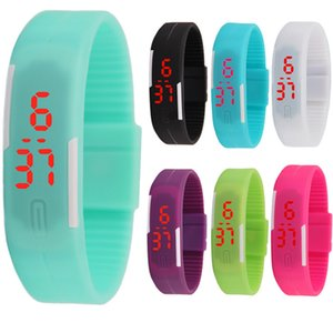 Led Digital Display Touch Screen Watch Unisex Sports Retangle Candy Rubber Belt Silicone Laders Wristatch 15 colors