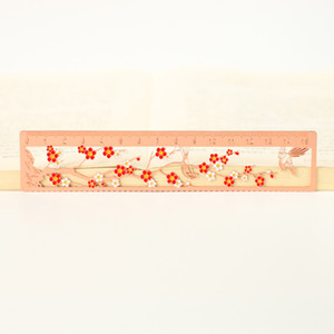 Chinese Style Series Ruler Rose Gold Customizable Measuring Drawing Tool Plant Modeling Plum Blossom Orchid Bamboo Chrysanthemum