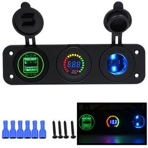 Freeshipping Autoladegerät Motorrad Stecker Dual USB Adapter + 12 V / 24 V Zigarettenanzünder Blau LED + Digital Voltmeter CY675-CN