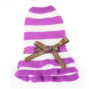 Stripe Leopard Print Pet Dog Clothes Knitting Bow Skirt Dress Spring And Autumn Lovely Dogs Decoration Supplies 16dg UU
