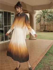 2020 di nuova delle donne a due pezzi dei vestiti Set Primavera Estate gradiente di colore Turn-down Collar Top Sets + vita alta gonna a pieghe donne