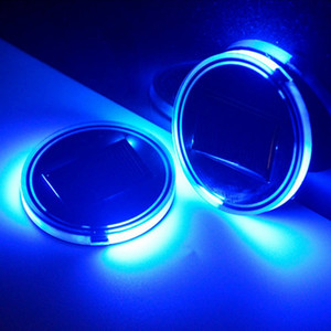USA Car Coasters Solar Cup Holder Bottom Pad Blue LED Light Atmosphere Lamp