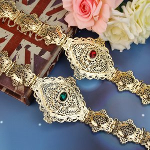 SUNSPICEMS Morocco Caftan Belt Women Gold Belt Hollow Out Arabesque Ethnic Wedding Body Jewelry Elegant Bridal Gift Wholesale T200603