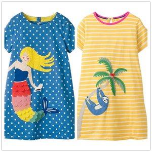 Vidmid Çocuklar Elbise Prenses Pamuk Parti Giyim Elbiseler Kızlar Için çocuk Kısa Kollu Giyim Kız Çizgili Elbiseler J190612