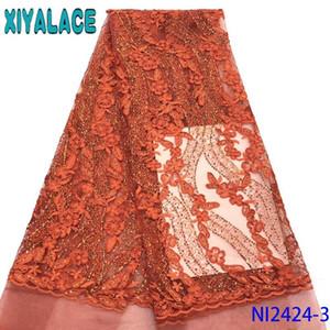 Burnt Orange Lace Нигерийский ткань шнурка 2020 высокого качества африканских Тюль Кружево с блестками для женщин KSNI2424