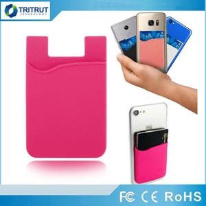 Silikon Brieftasche Kreditkarte Bargeld Tasche Aufkleber 3 Mt Klebstoff aufkleber ID Kreditkarteninhaber Beutel Für iPhone Samsung Handy MQ100
