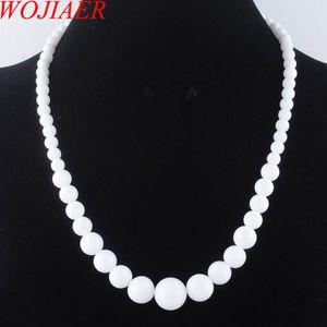 Wojiare White Jade Gem Stone 6-14mm Graduato perline rotonde Collana Donne 17,5 pollici Strand Gioielli DF3008