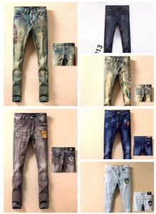 19ss Hombres gucci diseñador para hombre jeans hombres gucci frauen jeans desgastados prisa reithosen slim biker denim moda jeans gucci hombres hip hop herren gg Jeans