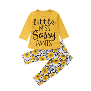Yellow Flower Kids Baby Girls Clothes T-shirt Tops +Pants 2PCS Set Outfits Long Sleeve Newborn Infant Toddler Baby Clothing