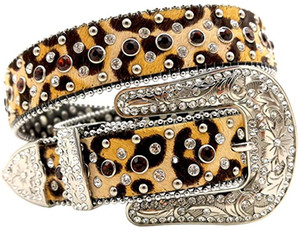 Signore Multi colore strass Cintura Cowgirl con borchie Cintura stile leopardo In Pelle Cintura occidentale Per Le Donne