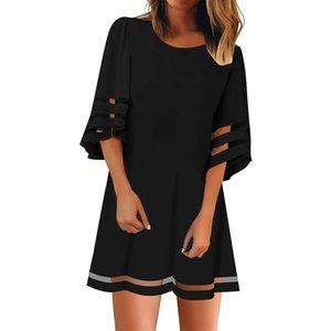 Женская сетка с круглым вырезом 3/4 с короткими рукавами и свободным платьем в складку Женское повседневное прямое платье Vestidos короткий пляжный сарафан