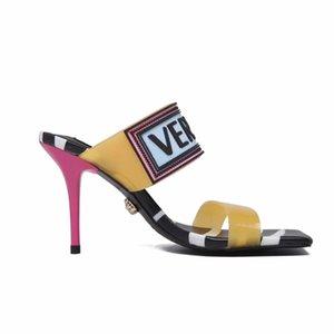 9,5 centimetri Large Size scarpe estive con tacco del sandalo alti talloni delle donne Sandali donna Scarpe a punta aperta partito posteriore rosso cerimonia nuziale della cinghia Sexy Black Lady