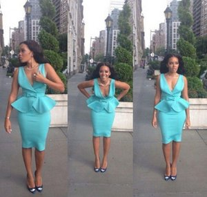 Light Sky Blue Short Cocktail Dresses Deep V Neck Sheath Satin Peplum Knee Length Backless Prom Party Dresses Women Casual Dresses 2020