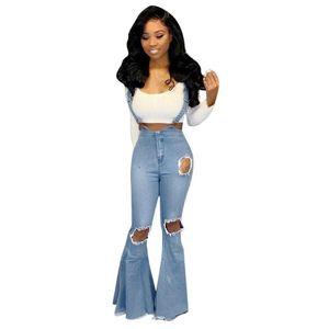 Big Flare Jeans Pantalons femme à jambe large taille haute en denim élégante de fête Lady Pantalons Slim Fit Bas