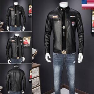 Hiver Emmababy Mens style rétro Zippé Veste motard en cuir souple réel Coat Factory Noir Casual Livraison gratuite