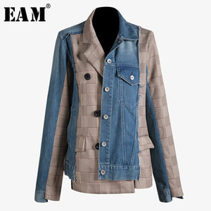 [eam] 2019 Nueva Otoño Invierno Solapa Manga larga Azul Denim Plaid Split Joint Irregular Loose Jacket Women Coat Fashion Tide Jt888 Y190827