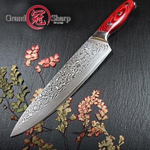 67 Camadas japonês Damasco faca de Damasco Chef faca 8inch VG-10 Lâmina de Damasco faca de cozinha Pakka Handle