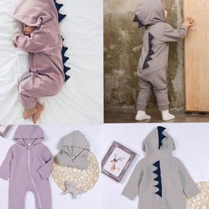 Yenidoğan Bebek tulum yeni doğan bebek kıyafetleri Dinozor Kapşonlu Romper Jumpsuit Kıyafetler uzun Kızlar Kapşonlu Bodysuits KKA7830 manşonlu
