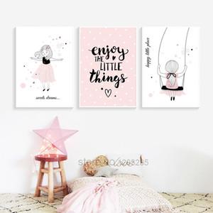 Citations rose peinture de toile nordique Baldaquin bébé Décor danse Affiches fille et Prints Salon Décoration murale Photos
