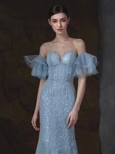 Sexy Sequins Mermaid Evening Dresses Trumpet Deep V Neck Long Sleeve Prom Gowns Court Train Formal Party Dress 2020