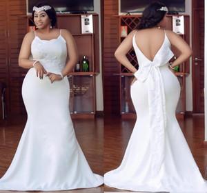 Plus Size Wedding Dresses Spaghetti Straps Backless Floor Length Satin Arabic Bridal Gowns Applique Bow Appliques ogstuff Cheap